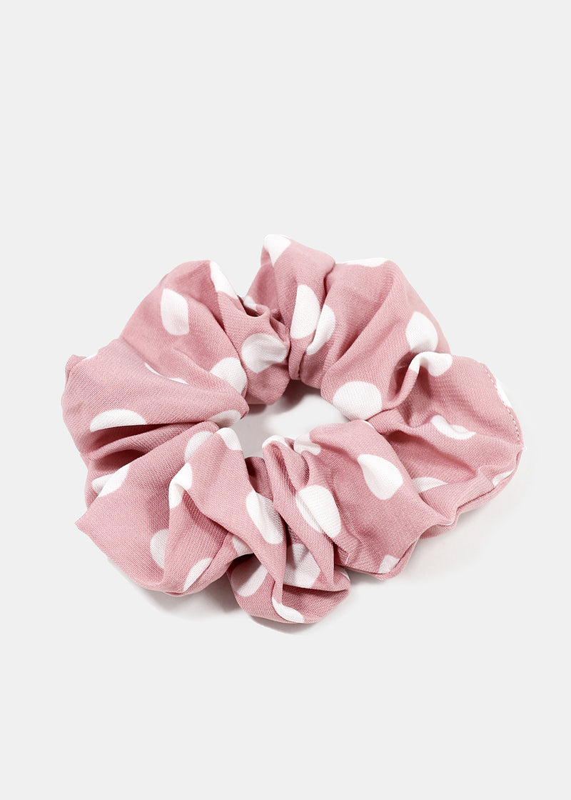 White Polka Dot Scrunchie