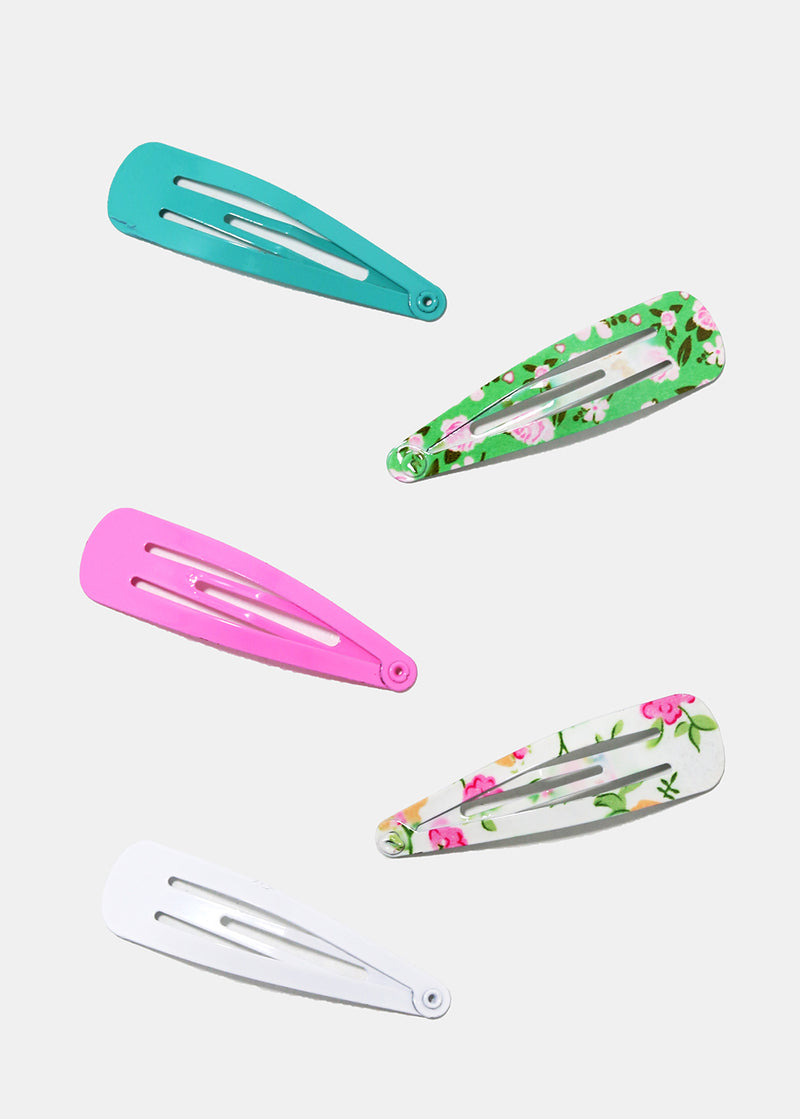 10-Piece Flower Print Snap Clips