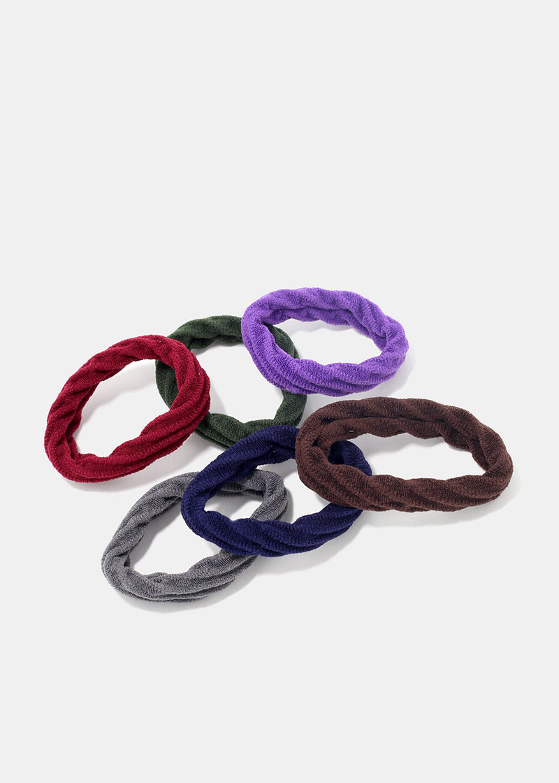 6-Piece Soft Ridged Hair Ties
