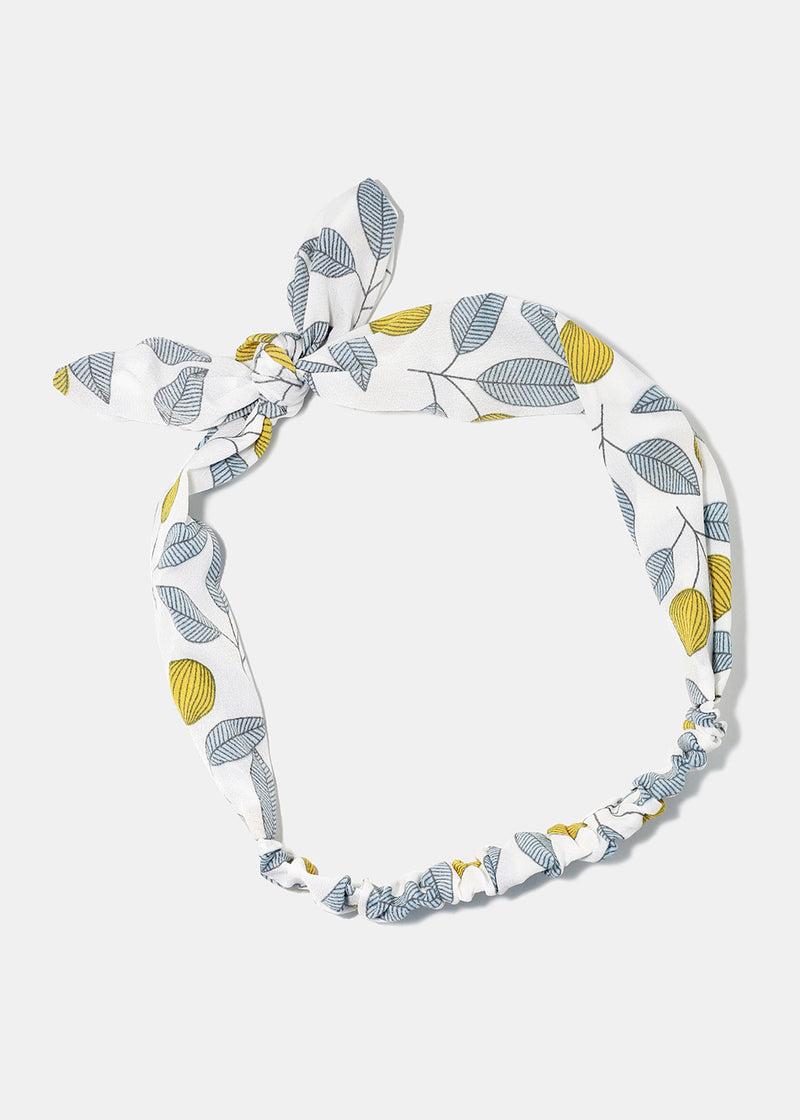 Leaf Print Bunny-Ear Stretch Headband