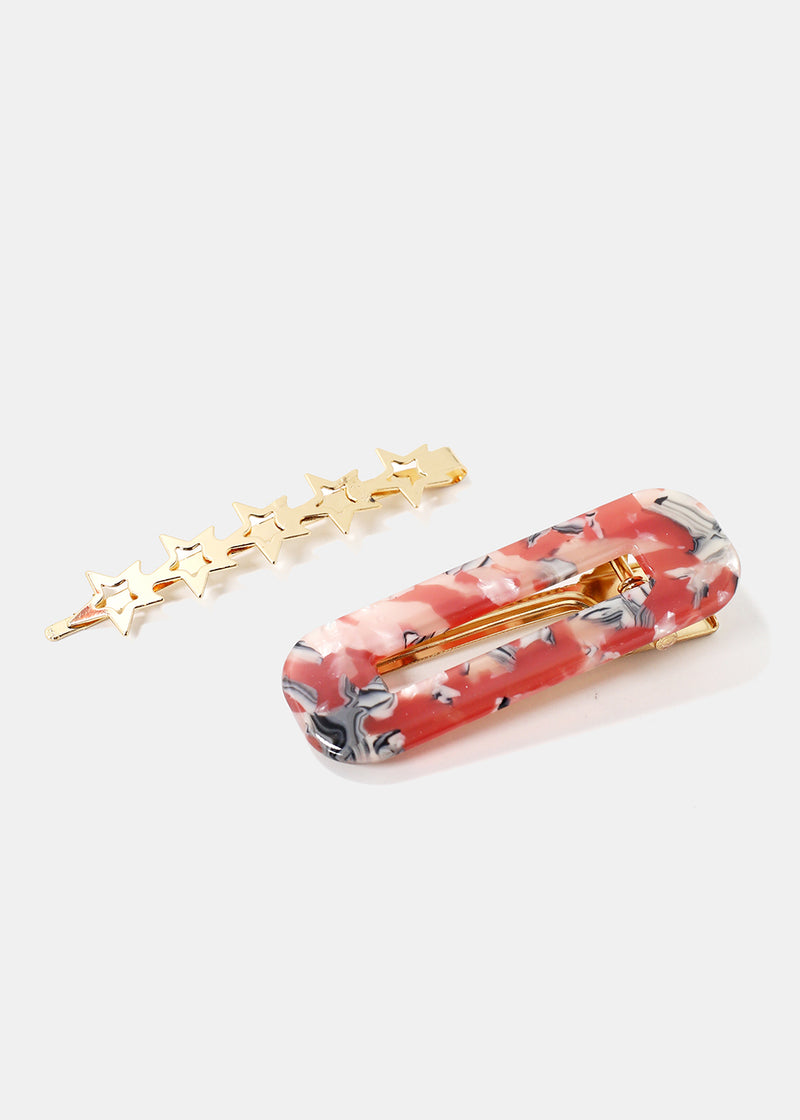 2-Piece Resin & Stars Barrettes