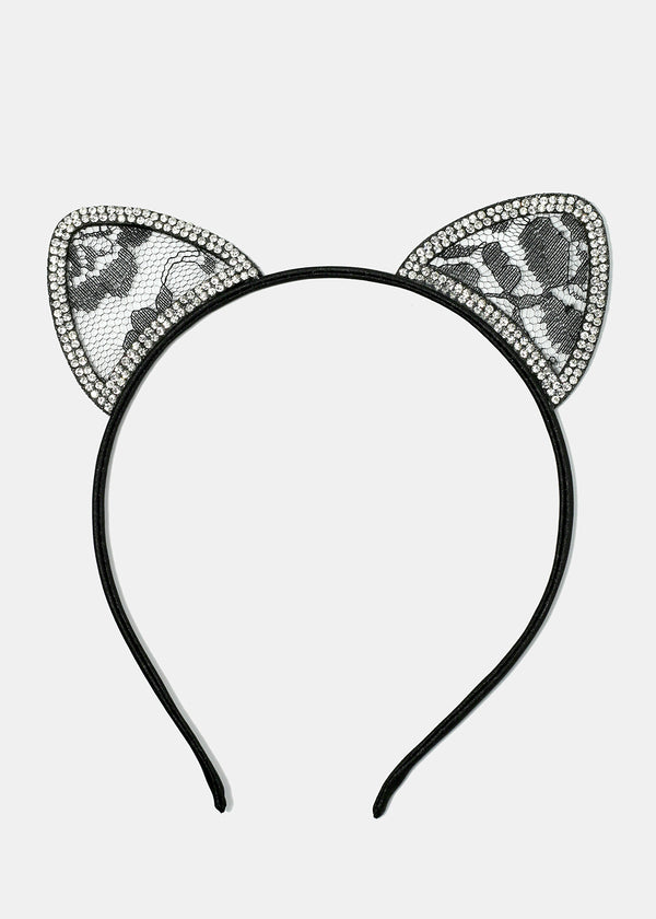 Rhinestone & Lace Cat Ear Headband