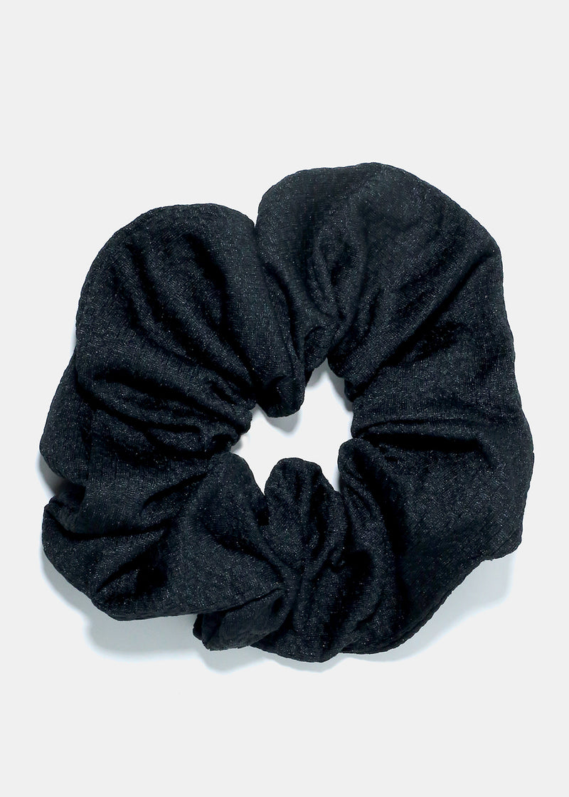Textured Large Black Scrunchie