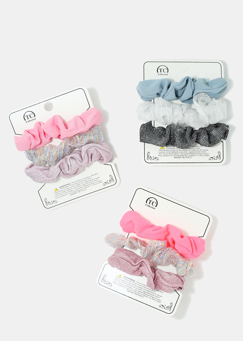 3-Piece Glitter Scrunchies