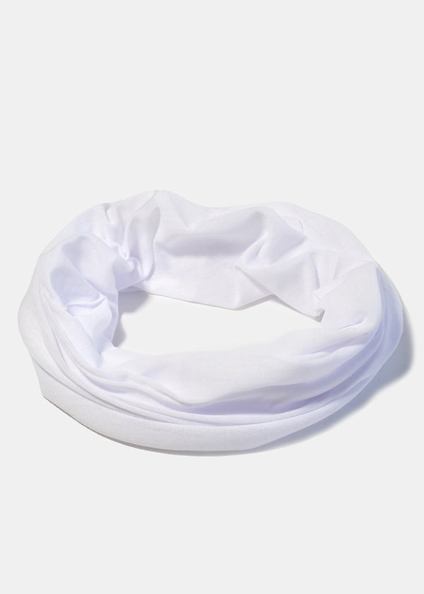 White Multi-Use Face Covering Scarf