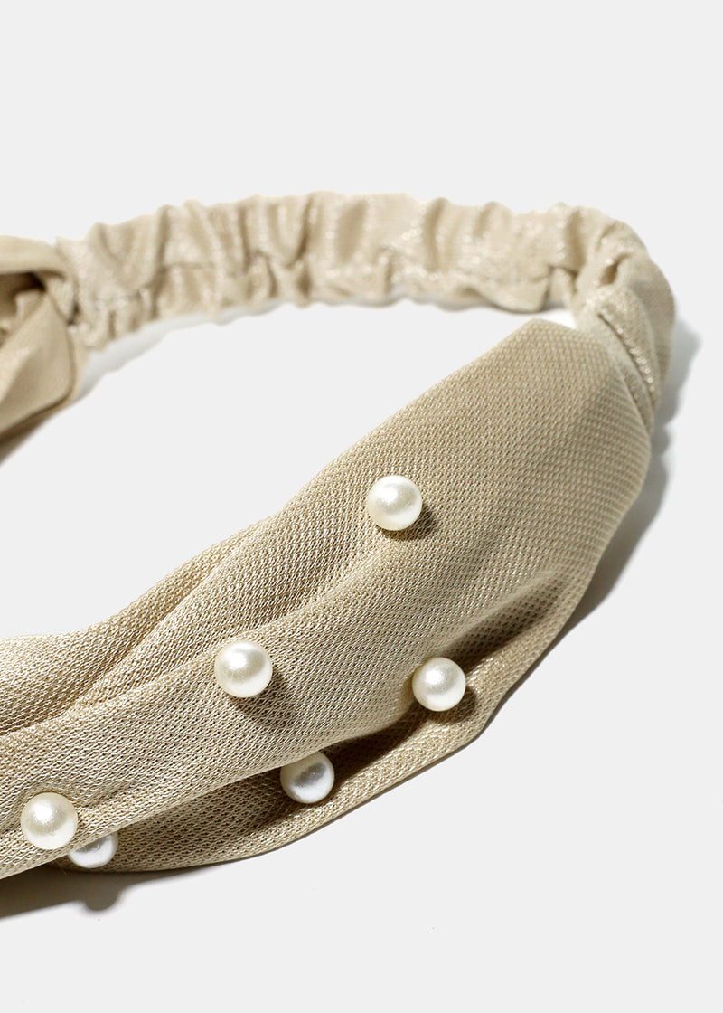 Pearl Studded Twisted Knot Headband