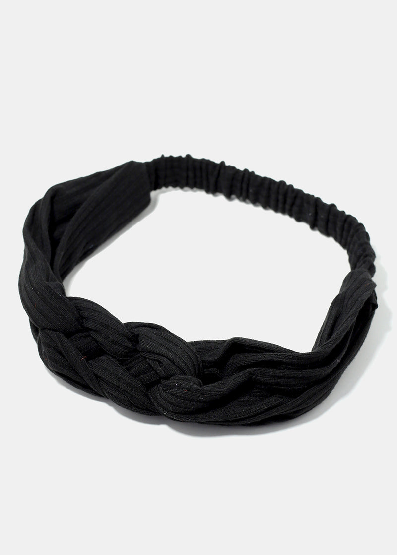 Striped Texture Braided Knot Stretch Headband