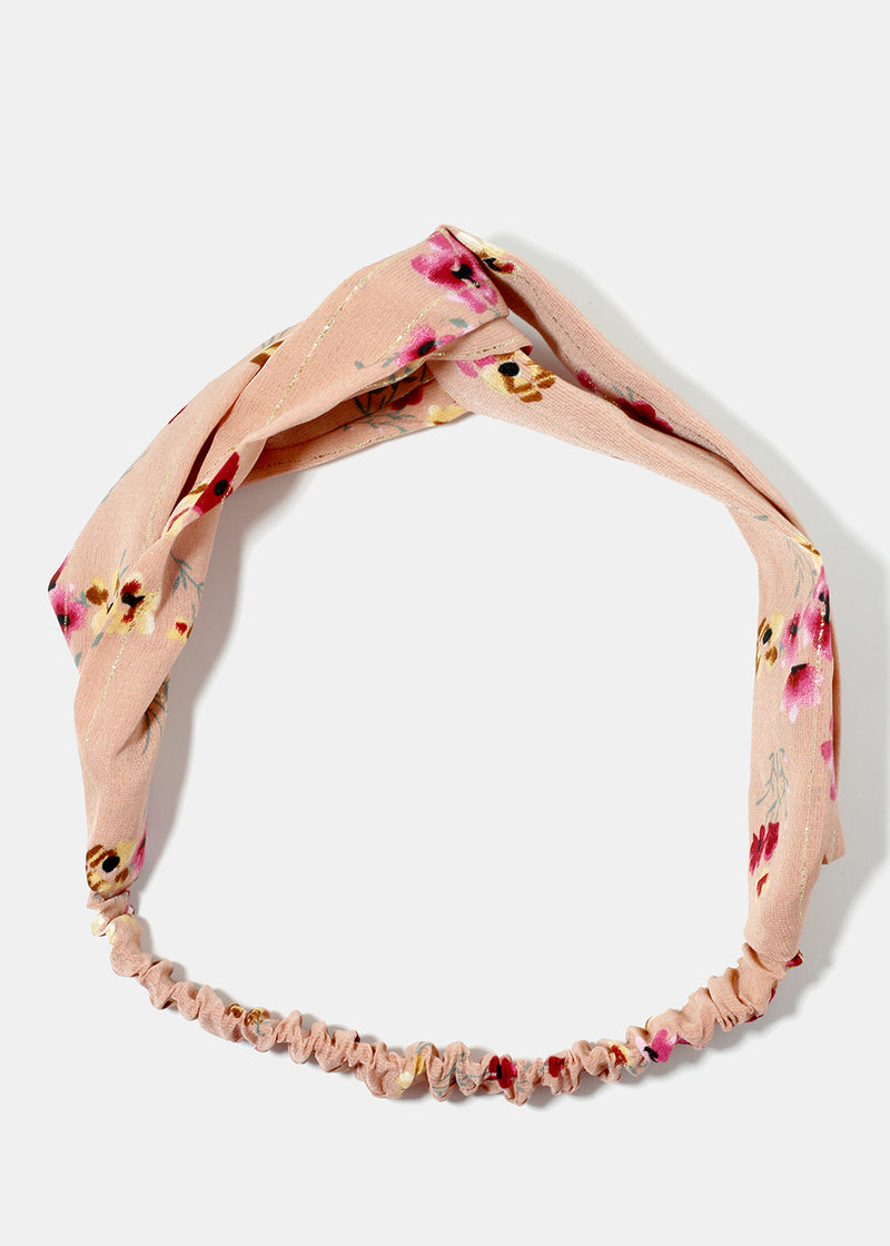 Flower Print Twist Stretch Headband