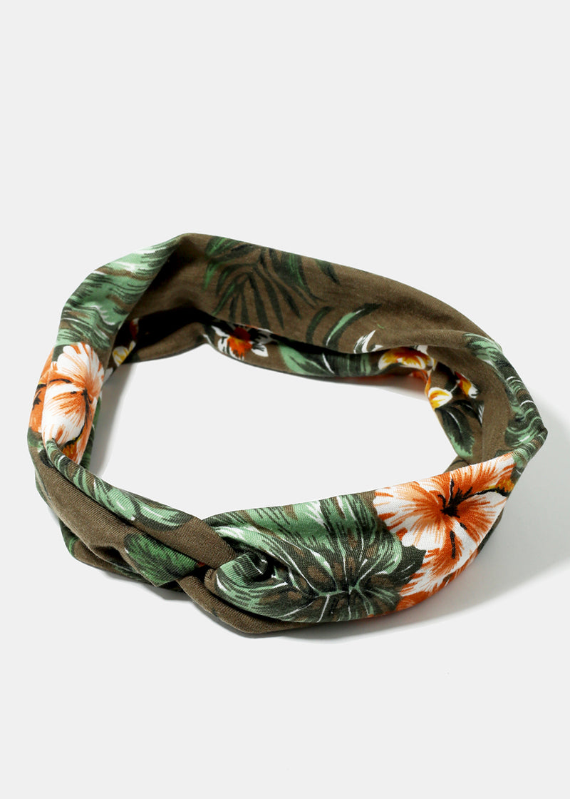 Flower Print Twist Headband