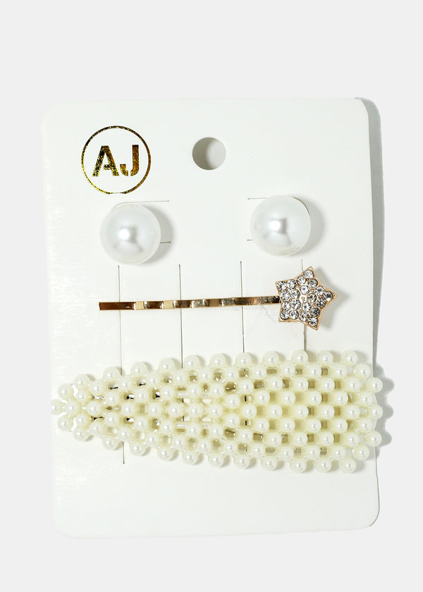 3-Piece Pearl Hair Pins & Earrings Set