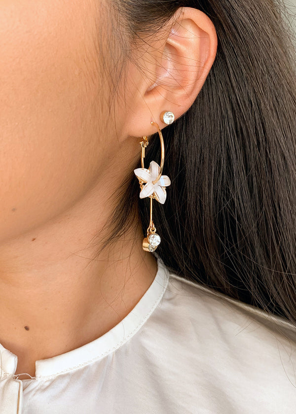 Stud & Flower Hoop Earrings