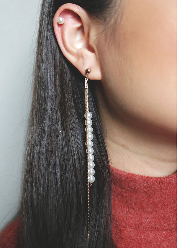 Pearl Stud & Chain Dangle Earrings