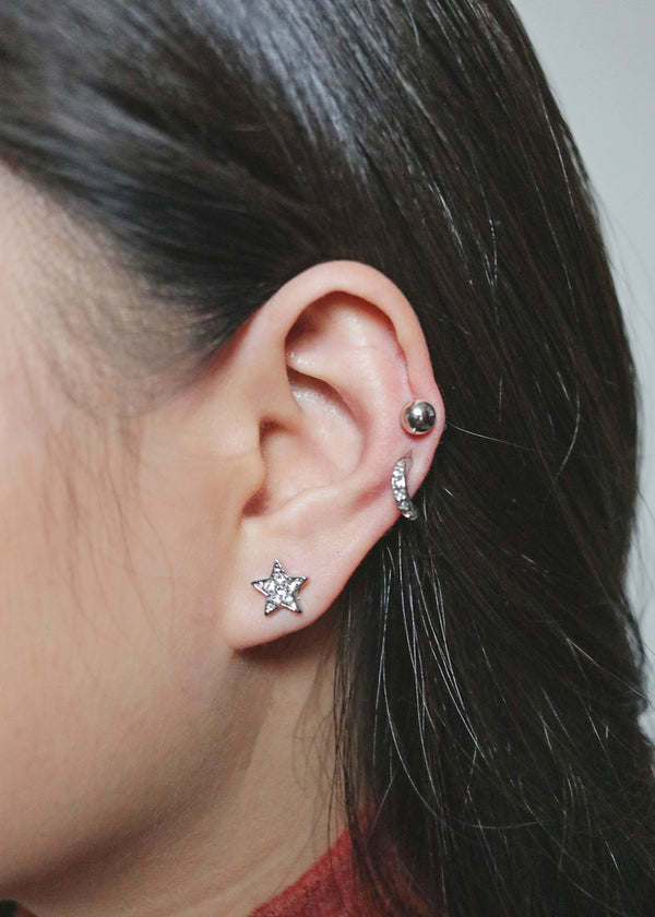 3-Pair Rhinestone Star Earrings