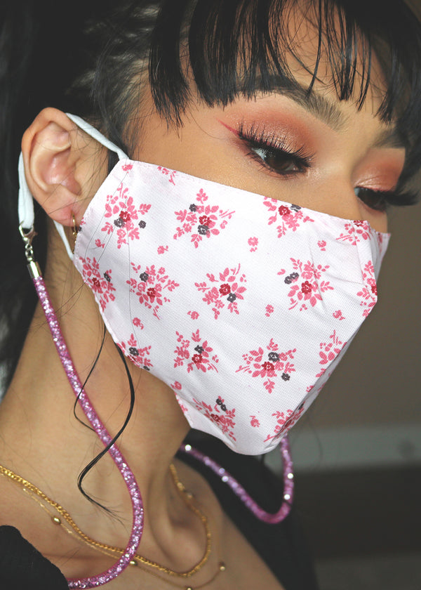 Flower & Stripe Adjustable Face Mask
