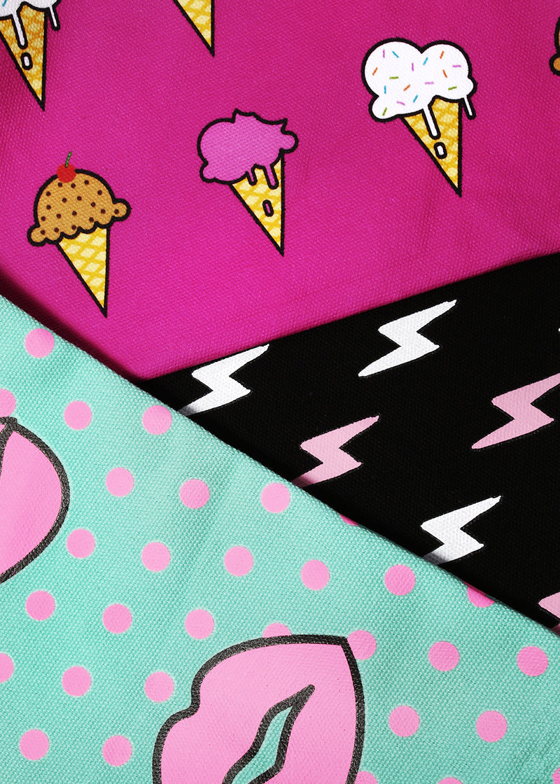 a2o Large Canvas Pouch - Ice Cream Cones
