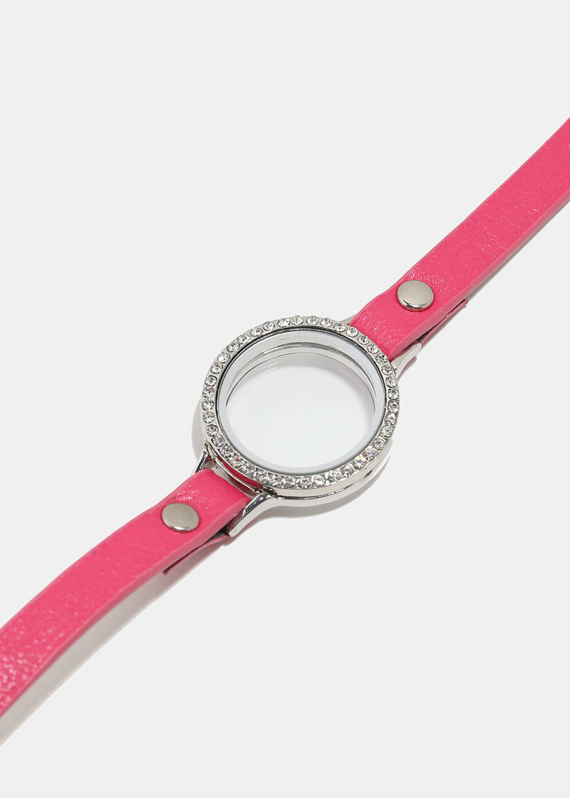Pink Leather Circle Crystal Locket Bracelet