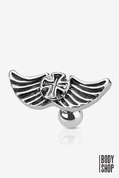 316L Surgical Steel Winged Iron Cross Barbell - 16GA Silver