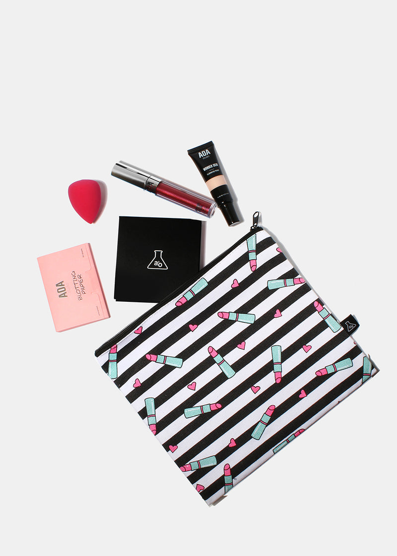 a2o Large Canvas Pouch - Pink Lipstick