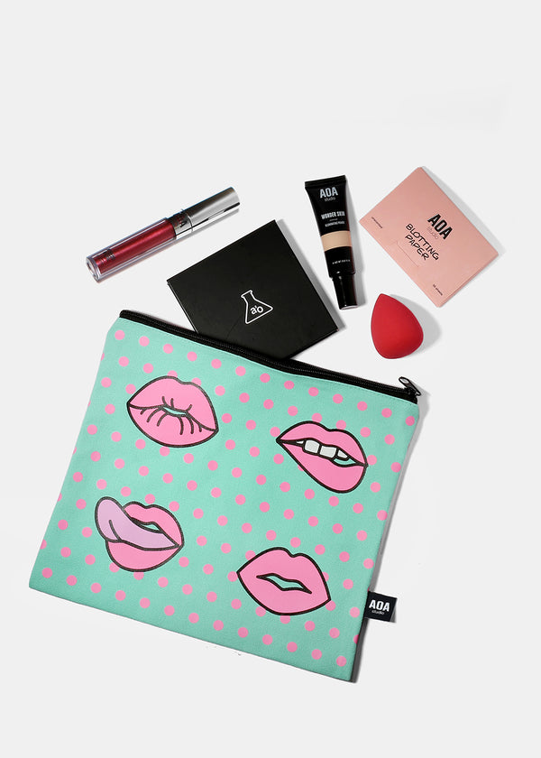A+ Large Canvas Pouch - Modern Lips