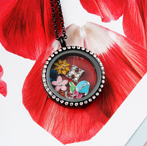 Black Circle Crystals Locket Necklace- LARGE