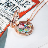 Rose Gold Circle Crystals Locket Necklace- LARGE