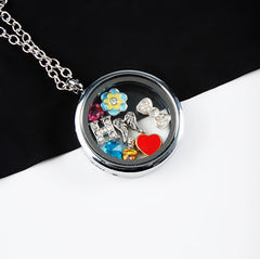 Silver Circle Locket Necklace- LARGE