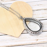 Silver Teardrop Crystal Locket Necklace
