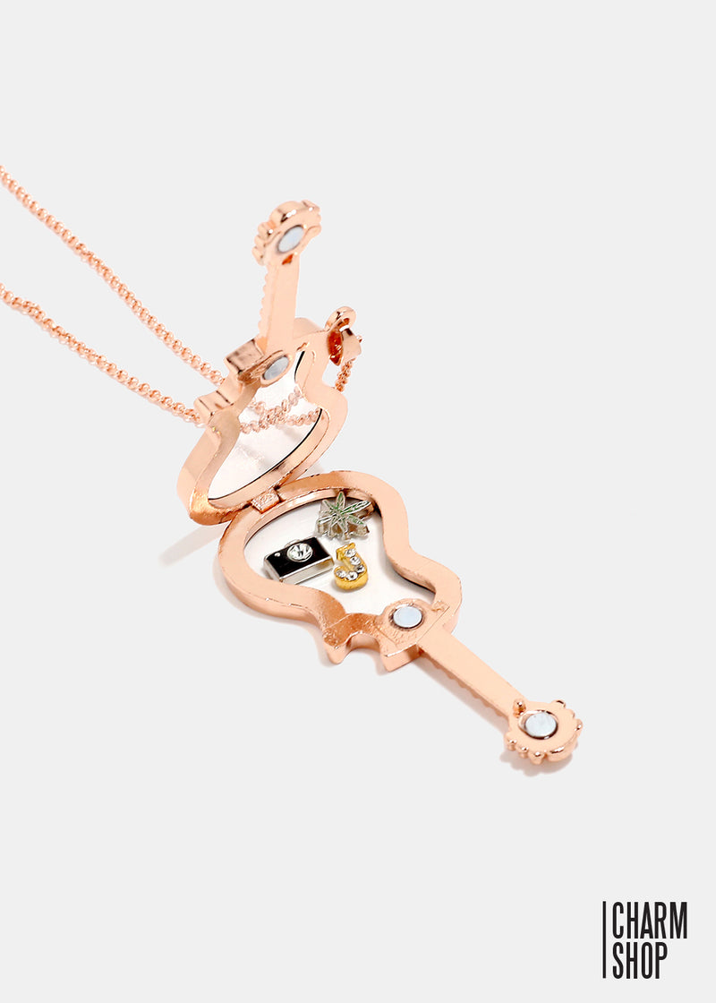 Rose Gold Guitar Locket Necklace
