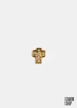 Gold Rhinestone Cross Locket Charm