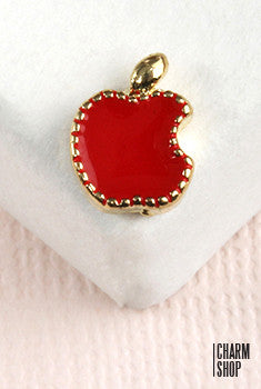 Red Bitten Apple Locket Charm