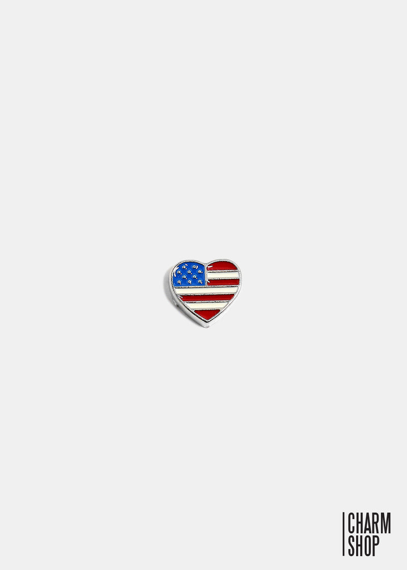 Heart American Flag Locket Charm