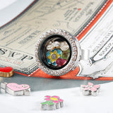 Silver Circle Crystals Locket Ring