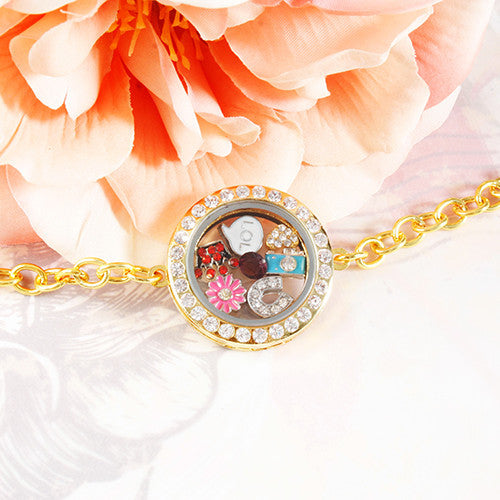 Gold Circle Crystals Locket Bracelet- MEDIUM