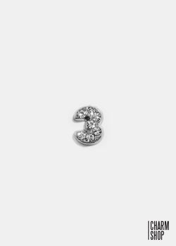 Silver Number 3 Locket Charm