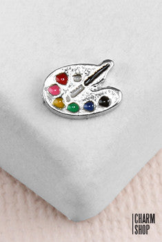 Artist's Palette in Silver Locket Charm