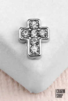 Silver Rhinestone Cross Locket Charm
