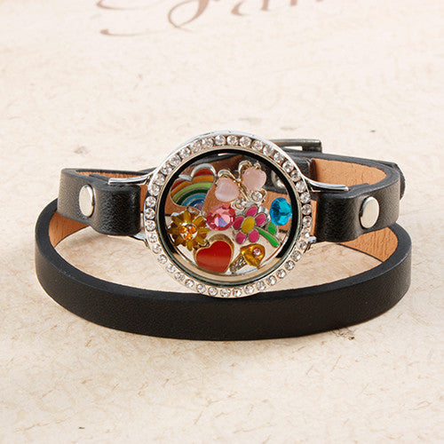 Black Leather Circle Crystal Locket Bracelet