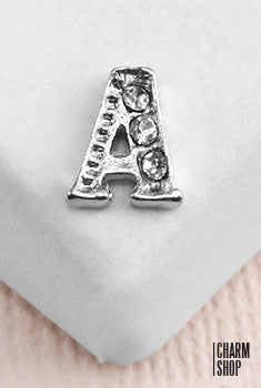 Silver A Initial With Rhinestones Locket Charm