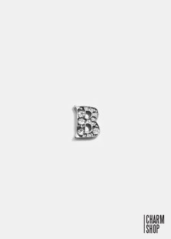 Silver B Initial With Rhinestones Locket Charm