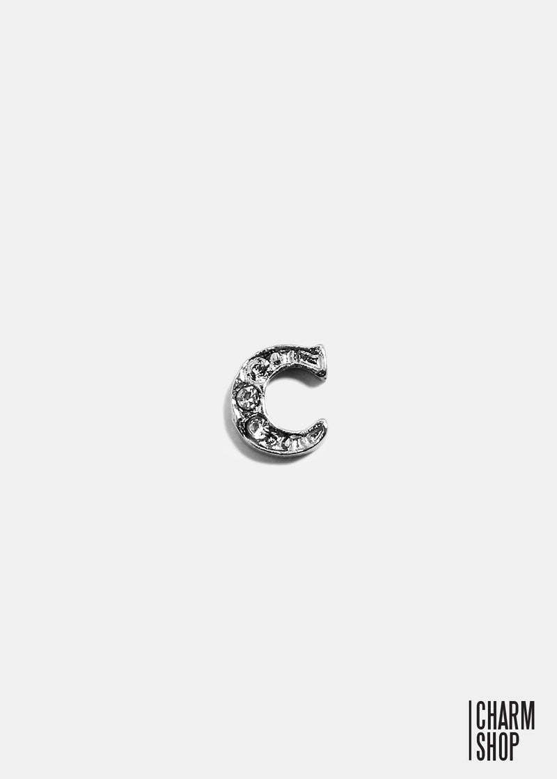 Silver C Initial With Rhinestones Locket Charm