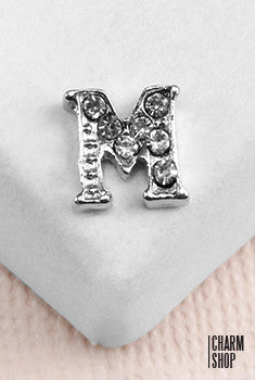 Silver M Initial With Rhinestones Locket Charm