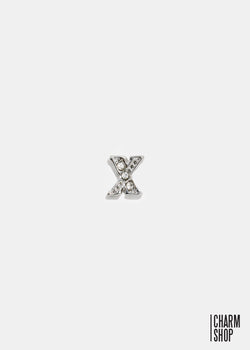 Silver X Initial With Rhinestones Locket Charm