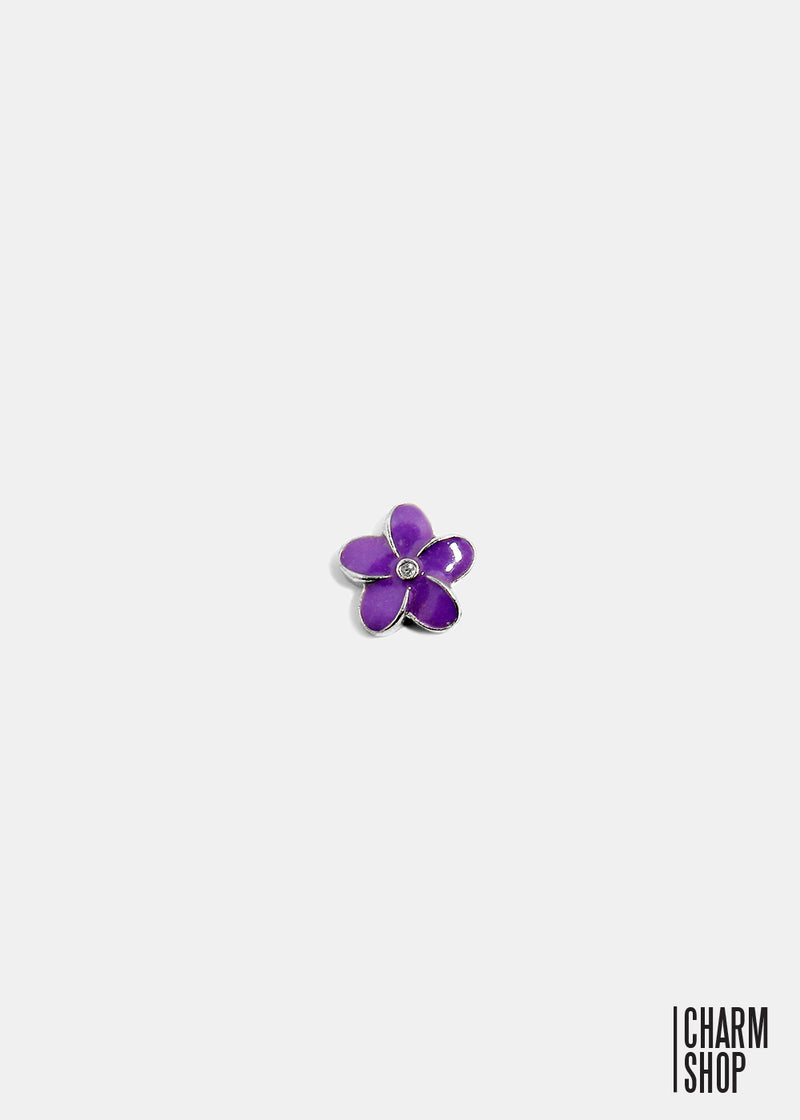 Purple Flower Locket Charm