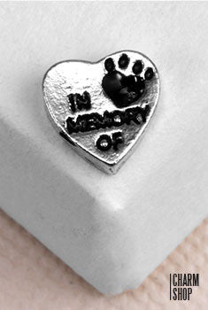 """In Memory of""  Heart Pet Locket Charm"