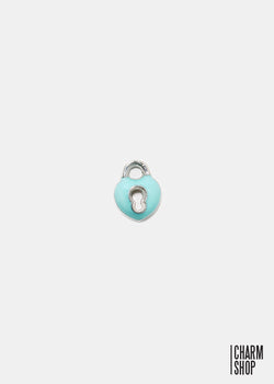 Teal Lock Heart Locket Charm