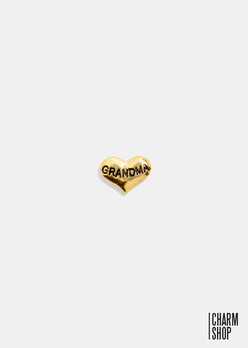 Gold Heart Grandma Locket Charm