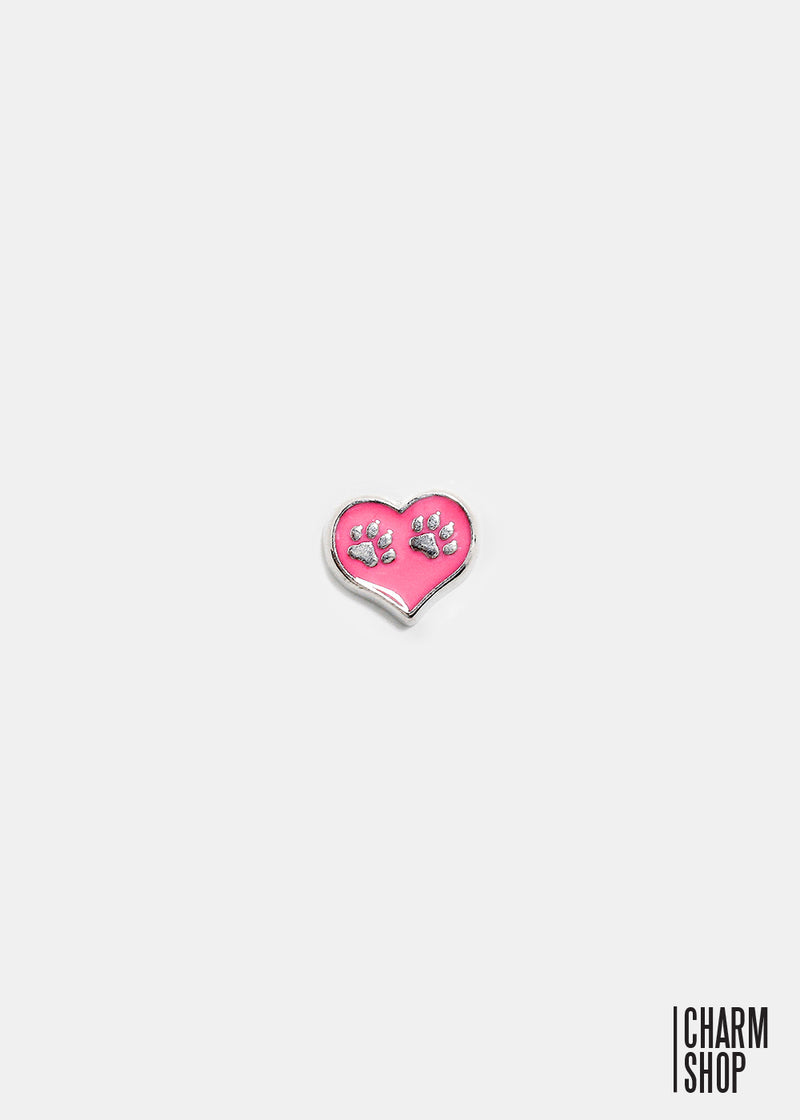 Pink Heart Paws Locket Charm