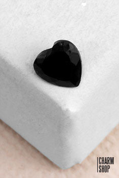 Black Heart Accent Stone Locket Charm (2 stones)