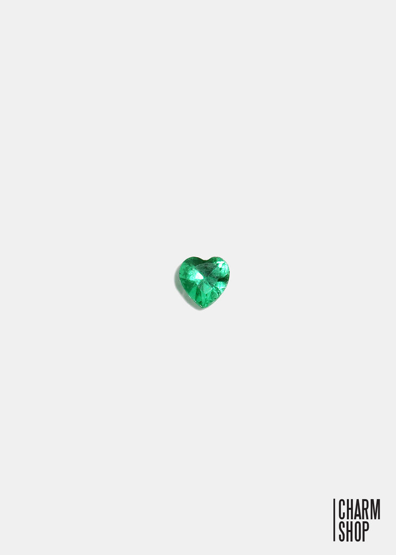 Teal Heart Accent Stone Locket Charm (2 stones)