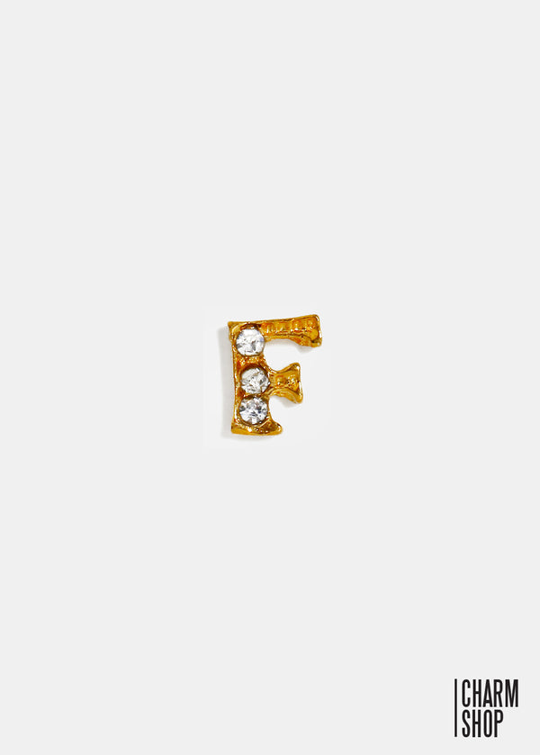 Gold Letter F Locket Charm